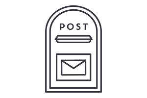 post box vector line icon, sign, illustration on background, editable strokes