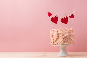 Romantic served cake with decorative