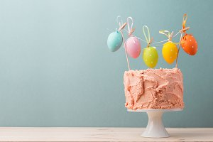 Delicious cake with Easter eggs