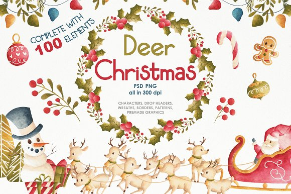 Deer Christmas-Graphicriver中文最全的素材分享平台