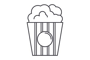 popcorn vector line icon, sign, illustration on background, editable strokes