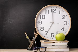 Arrangement of clock and school