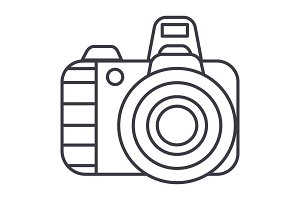 professional photo camera  vector line icon, sign, illustration on background, editable strokes