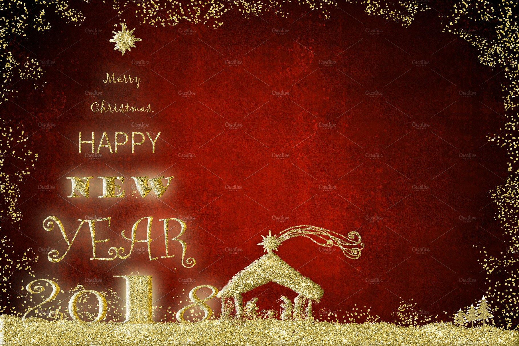 2018 Happy New Year Greeting Card Holiday Photos Creative Market