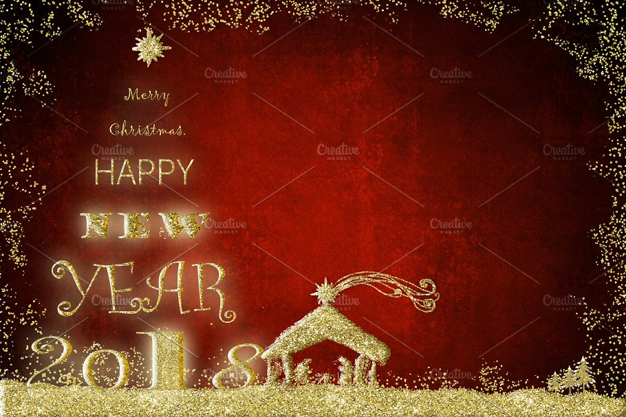 2018 happy new year greeting card holidays