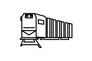 railway logistics,train,cargo vector line icon, sign, illustration on background, editable strokes