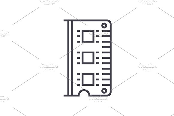 Ram Memory Vector Line Icon Sign Illustration On Background Editable Strokes