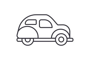 retro car  vector line icon, sign, illustration on background, editable strokes