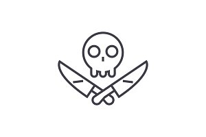 scull with knifes vector line icon, sign, illustration on background, editable strokes