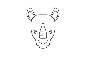 rhinoceros vector line icon, sign, illustration on background, editable strokes