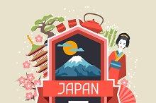 Illustrations on Japanese theme.