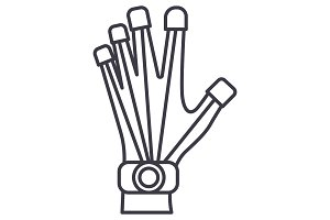 robotics hand  vector line icon, sign, illustration on background, editable strokes