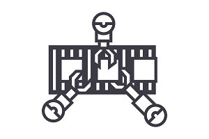 robotics industry line vector line icon, sign, illustration on background, editable strokes