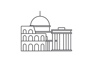 rome vector line icon, sign, illustration on background, editable strokes