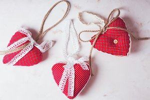 Red polka dot textile hearts