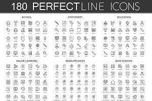 180 Perfect Line concept icons.
