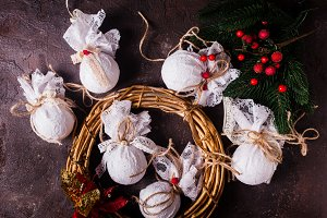 Retro textile Christmas baubles