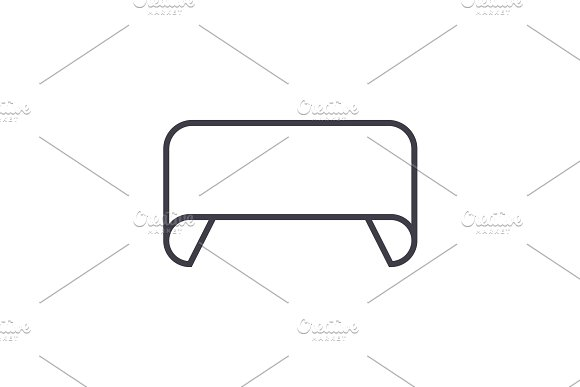 rounded ribbons illustration  vector line icon, sign, illustration on background, editable strokes