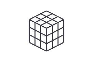 rubik cube  vector line icon, sign, illustration on background, editable strokes