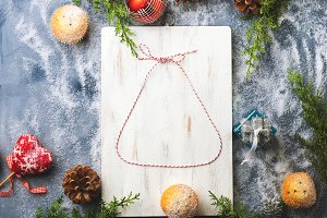 Christmas flat lay background with twine bell