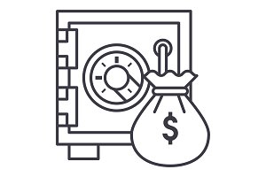 safe bank with money bag vector line icon, sign, illustration on background, editable strokes