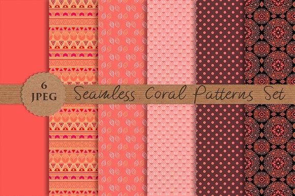 CORAL seamless patterns set