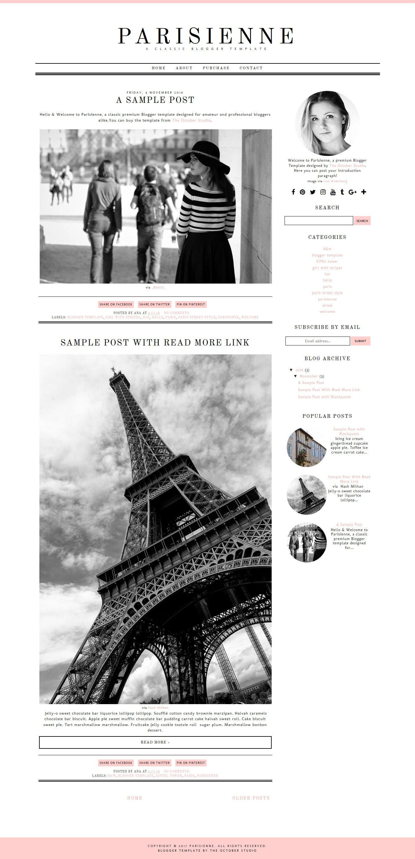 Parisienne - Blogger Template ~ Website Templates ~ Creative Market