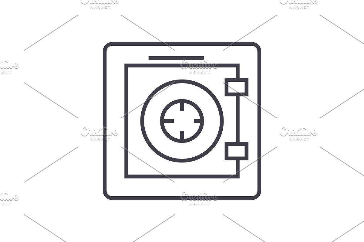 safe,security,protection,bank vector line icon, sign, illustration on background, editable strokes