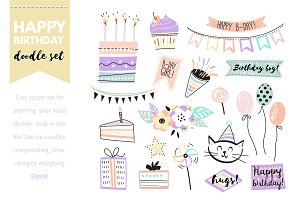 Birthday doodle vector set