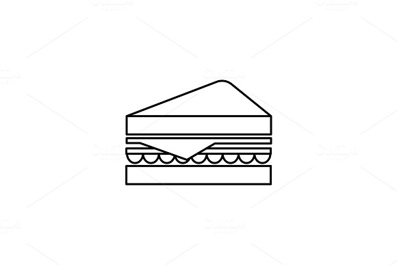 sandwich vector line icon, sign, illustration on background, editable strokes in Illustrations