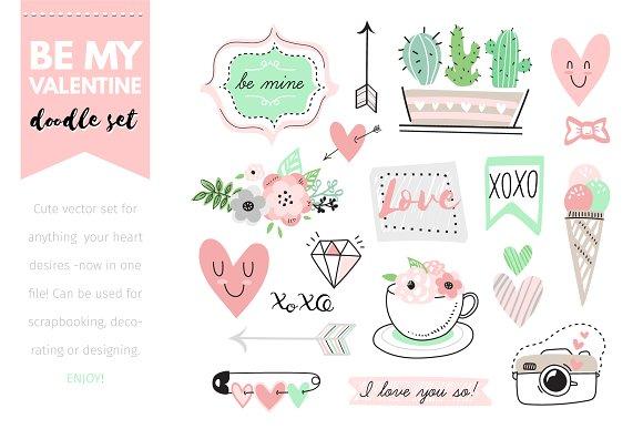 Valentine Doodle Vector Set