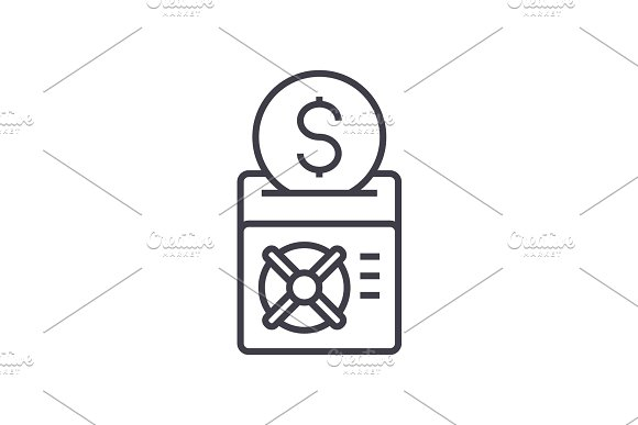 Save Your Money Vector Line Icon Sign Illustration On Background Editable Strokes
