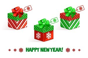 Vector cartoon New Year green-red gifts