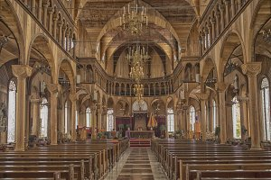 Inside a wooden cathedral