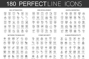 180 Perfect Line concept icons