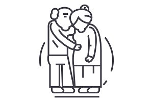senior couple,old people vector line icon, sign, illustration on background, editable strokes