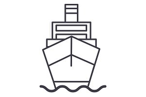 ship cargo, logistics vector line icon, sign, illustration on background, editable strokes