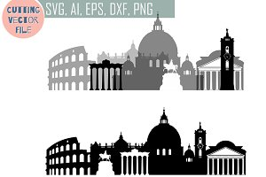 Rome SVG, Italy Capital Vector Skyli