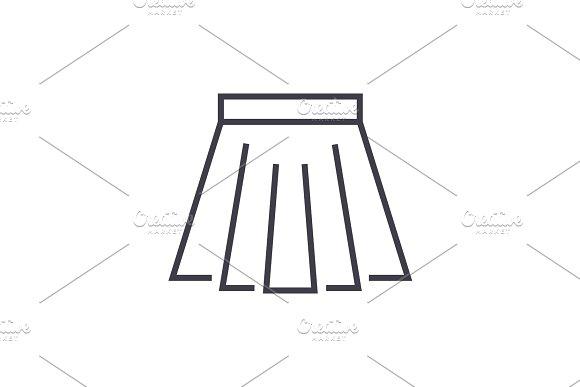 Short Skirt Vector Line Icon Sign Illustration On Background Editable Strokes