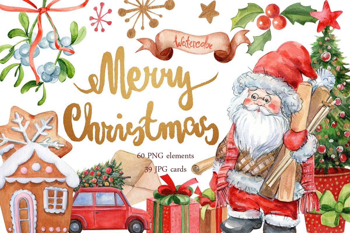 Merry Christmas Images Clip Art.Merry Christmas Clipart Illustrations Creative Market