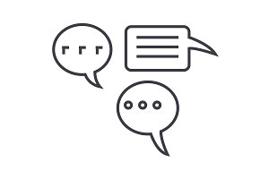 simple chats vector line icon, sign, illustration on background, editable strokes