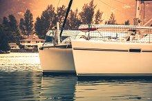 Yacht in sunlight haze