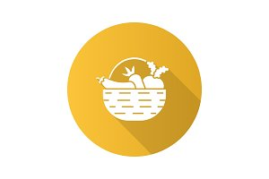 Basket with vegetables flat design long shadow glyph icon