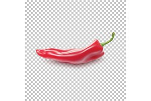 Red realistic pepper.