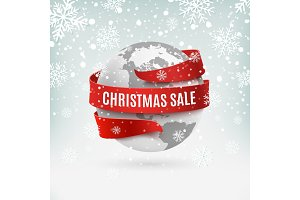 Christmas sale, earth icon with red ribbon around, on winter background.