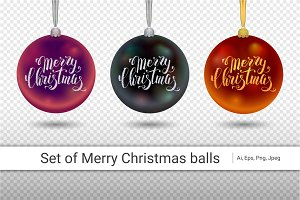 Xmas decoration black glass ball with silver inscription Merry Christmas