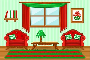 Set cartoon cushioned red and green furniture, Living room