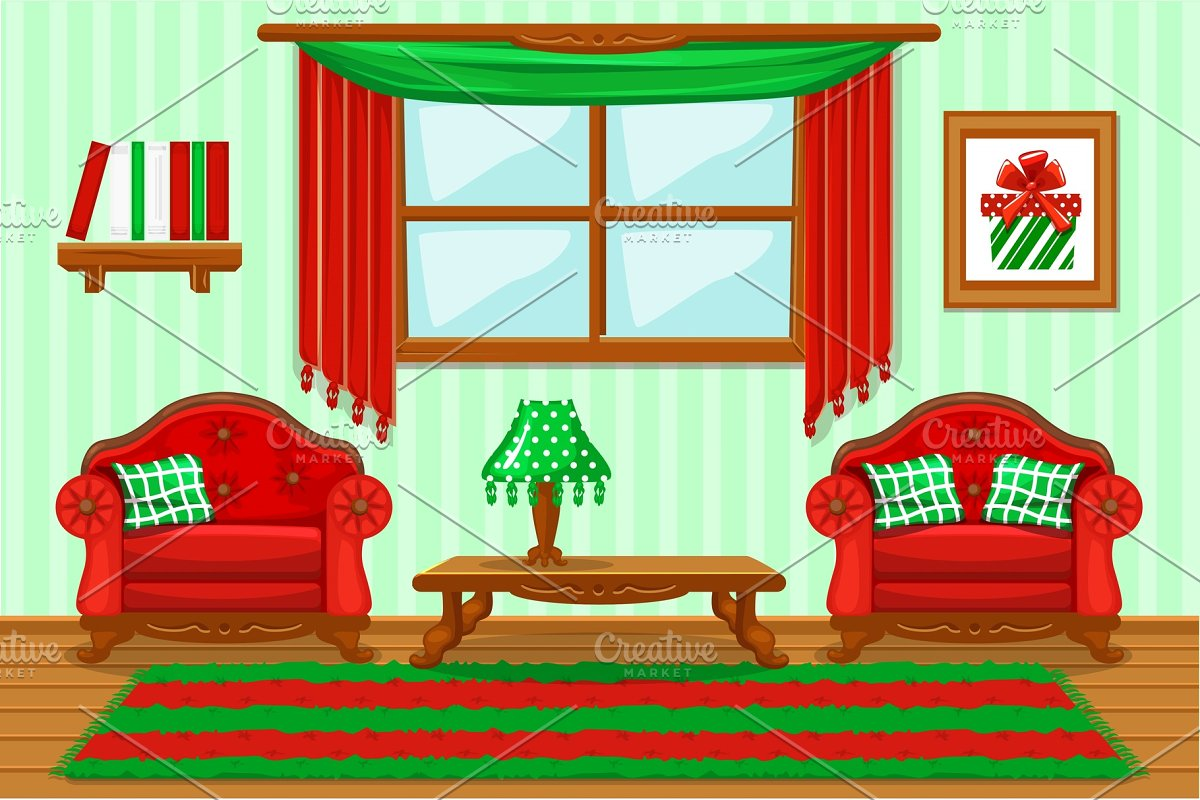 Set cartoon cushioned red and green furniture, Living room ...