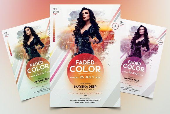Faded Color - Event Flyer T-Graphicriver中文最全的素材分享平台