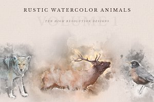 Rustic Watercolor Animals - Vol. 1